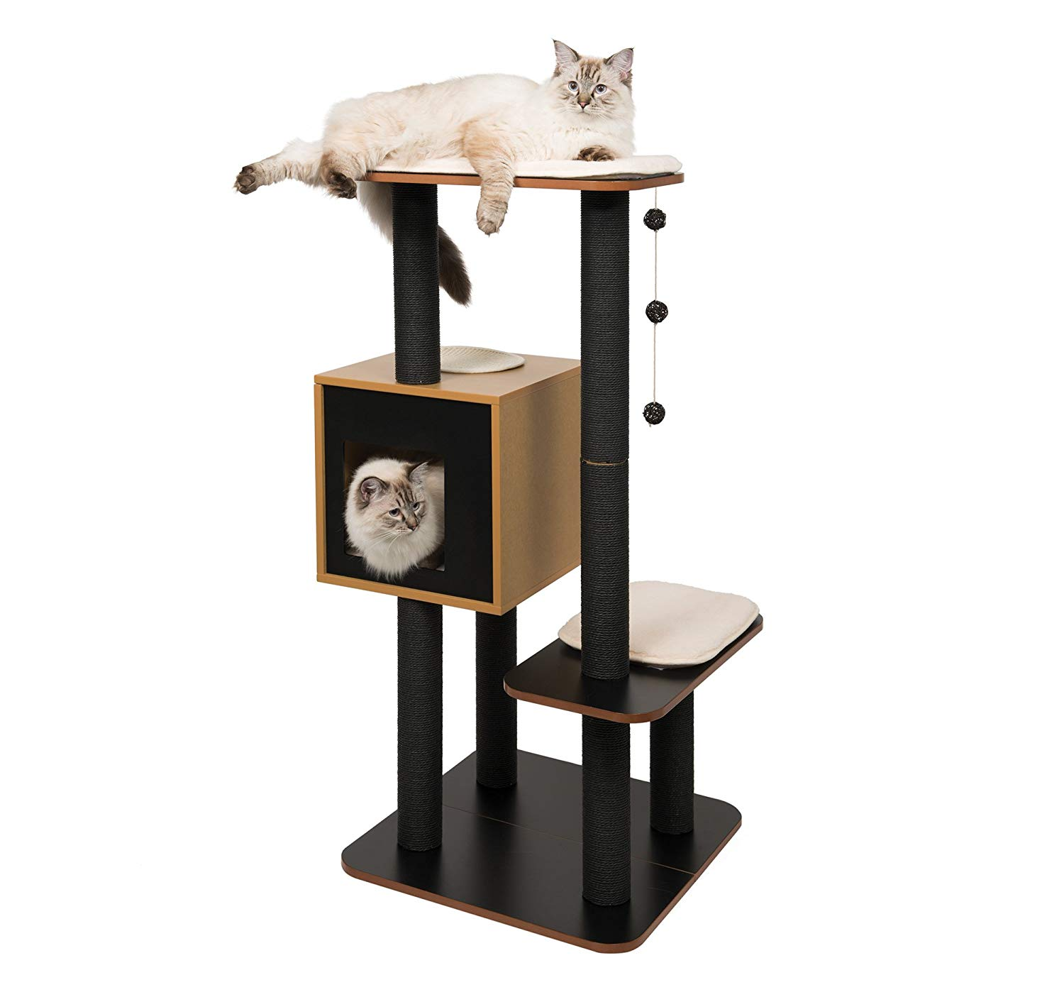 Compact Modern Cat Tree With No Carpet