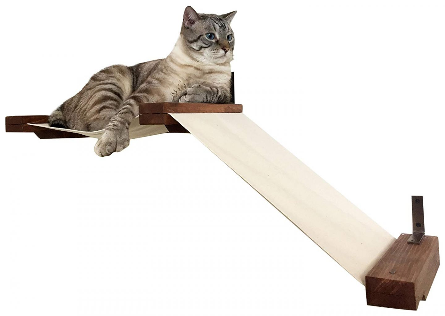 Wall Mounted Cat Lounger With Fabric Ramp - Such a cool wall mounted cat perch! Seems a shame to lump it in with the stylish wall mounted cat hammock, cat perch with pretty silk leaves, curved mahogany cat shelf with replaceable carpet and wall mounted sisal post with cat perches. One of them WILL capture your heart!