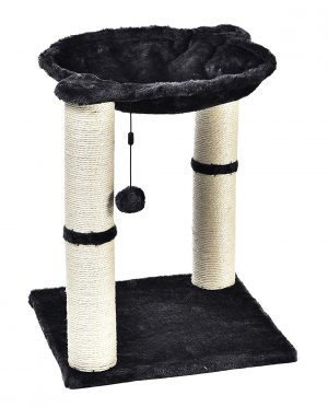 An affordable cat hammock with cat scratching posts and a cat toy.
