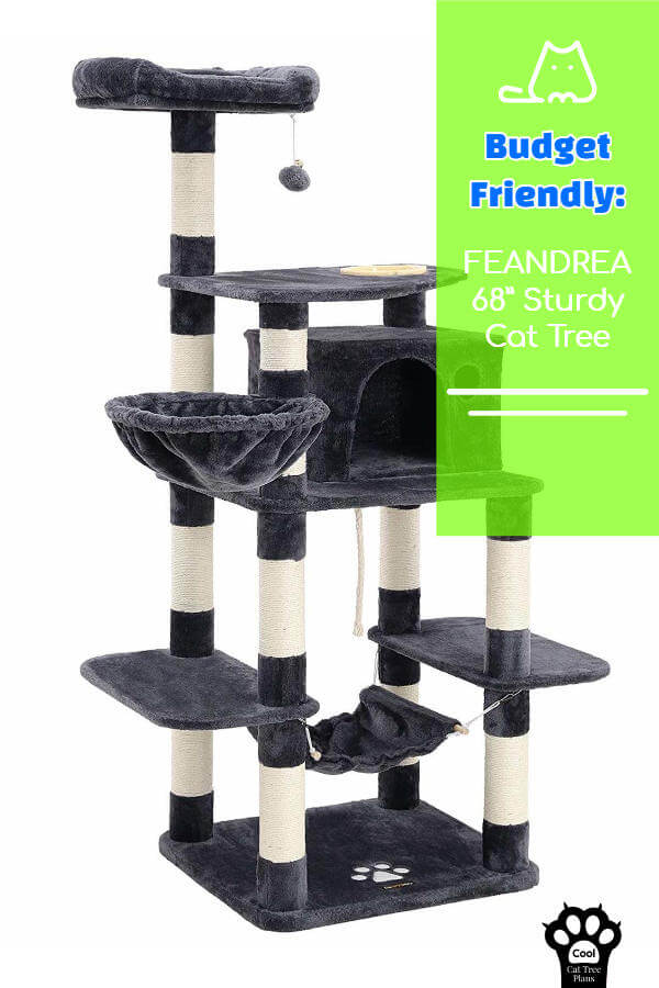 This budget friendly tall cat tree is incredibly sturdy and delightfully plush.  The perfect place for your kitty to snuggle up and have a nap.
