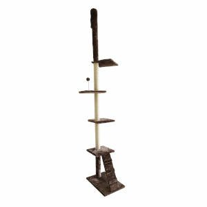 Tension pole cat trees span from floor to ceiling, providing good support and a strong cat tree for your cat to climb, all while being super compact for apartment living.