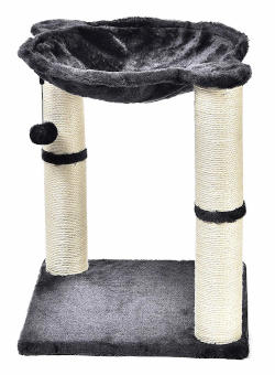 Dual jute rope scratching posts support this inexpensive cat tree for apartment dwellers.