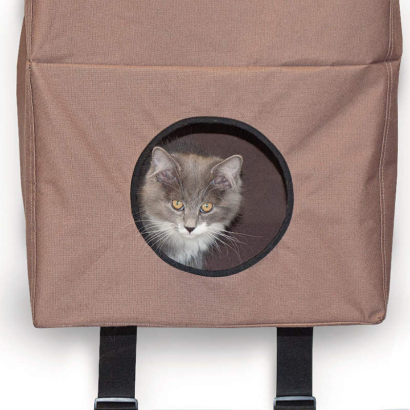 A kitty enjoying the bottom cubby of this hanging cat tree for apartments.