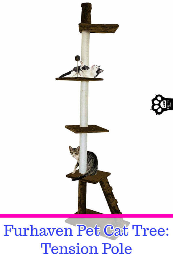 The FurHaven tension pole cat tree is a great cat tree for small spaces because it takes up hardly any floor space while still giving your cat lots of room to romp and climb.