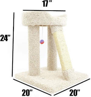The specific dimensions for this small new cat condos cat tree.