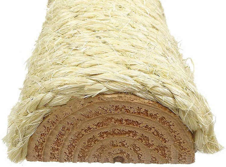 A cross-section of one of the sisal scratching posts, revealing the solid wood post inside with the unoiled sisal covering the outside.