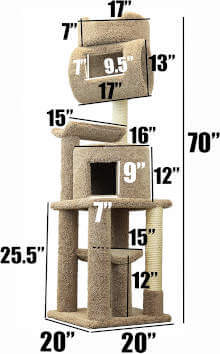 The exact dimensions of this super tall cat tree tower.