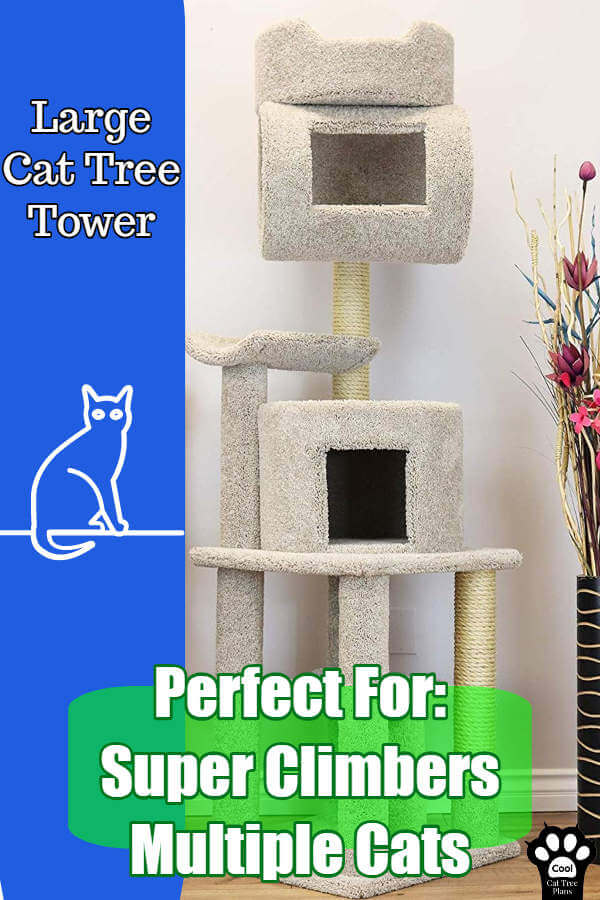 This large cat tree is amazing for those daredevil climbing kitties in your life.  For the cat who wants to get high and then go even higher, make crazy jumps and then lounge where they land.