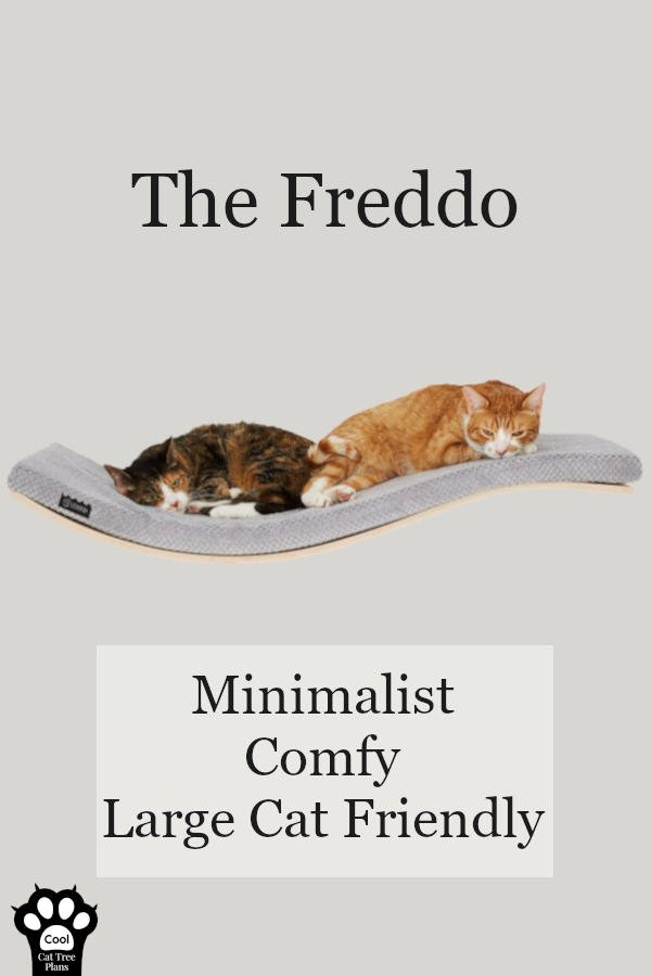 This is the Freddo from Tuft + Paw, a designer brand of cat furniture. They have made this beautiful, sleek, curved luxury cat shelf for your home and large kitties.