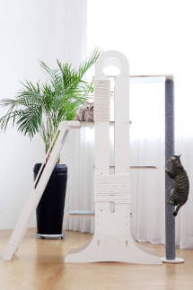 The Milo cat tree from Tuft+Paw is a luxury minimalist cat tree, with multi-cat households in mind.