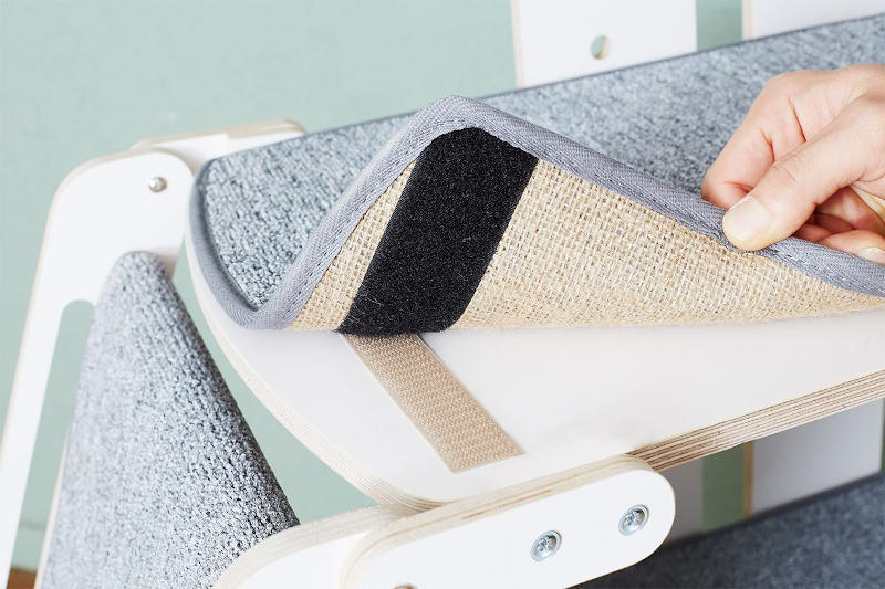 Easy to remove carpet pads are part of what make this minimalist, designer cat tree so wonderful and easy to maintain.
