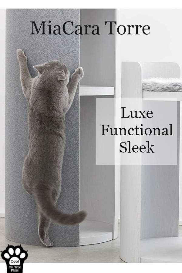 The MiaCara Torre is modern cat furniture for your large cat.  It's luxury cat furniture from Tuft+Paw, who have made a delightful and beautiful cat tree.