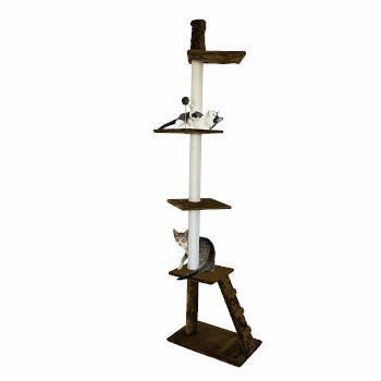 You can see how this small space friendly tension pole cat tree has more than a few spaces for your kitty to happily lounge and nestle in.