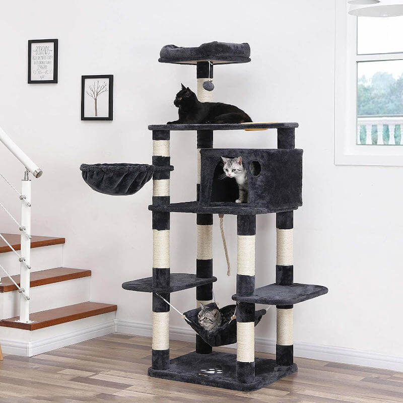 This tall cat tree for large cats is budget friendly, without compromising size and stability.