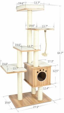 The exact dimensions of the lazy buddy cat tree.  A great tall cat tree for large cats.
