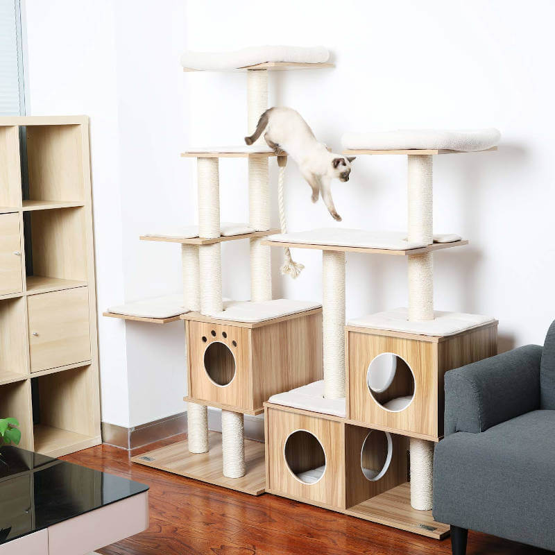 This lazy buddy cat tree can be used in conjunction with their other trees, combining them to make even bigger, more elaborate kitty play areas.
