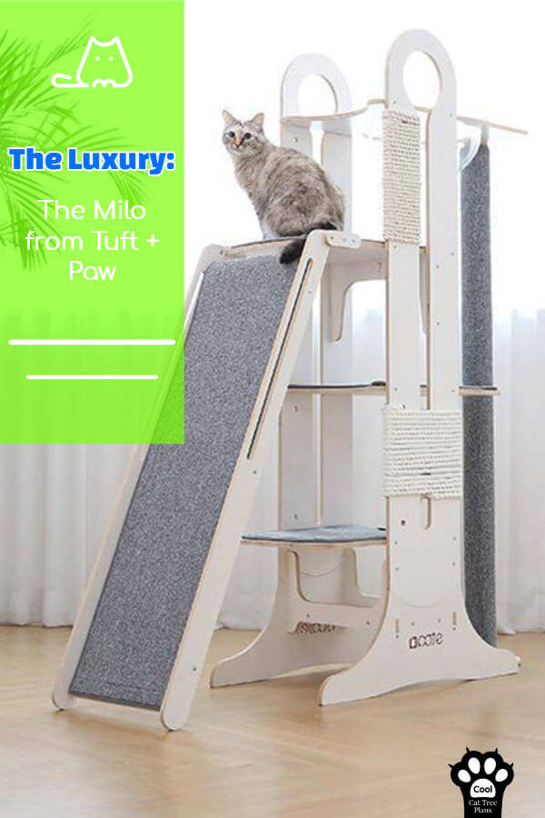 This luxury cat tree from Tuft + Paw is amazing for families with large cats who like heights.  If you like modern and minimalist designs, this is it.