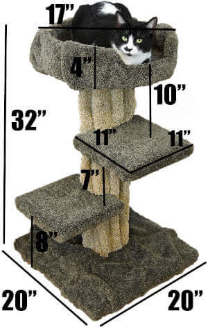 The exact dimensions for this whimsical carpeted tree themed cat tree.