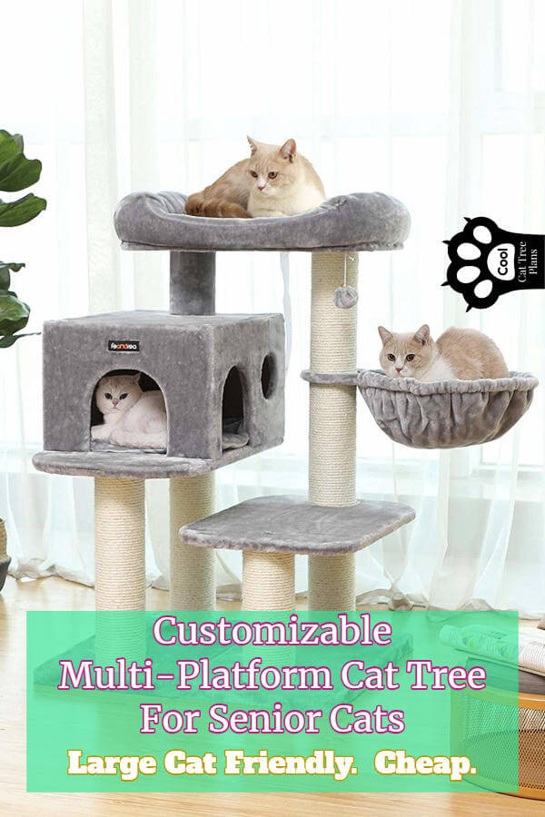 A customizable mult-platform cat tree for senior cats like this one can be just what the doctor (or vet) ordered.  This one is cheap and works well as a cat tree for large older cats as well.