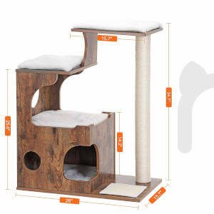 The specific dimensions for this rustic cat tree for older cats.