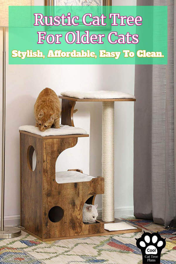 This rustic cat tree for older cats is stylish and super easy to clean.  It has no carpet, making it a cinch to wipe down whenever you need.