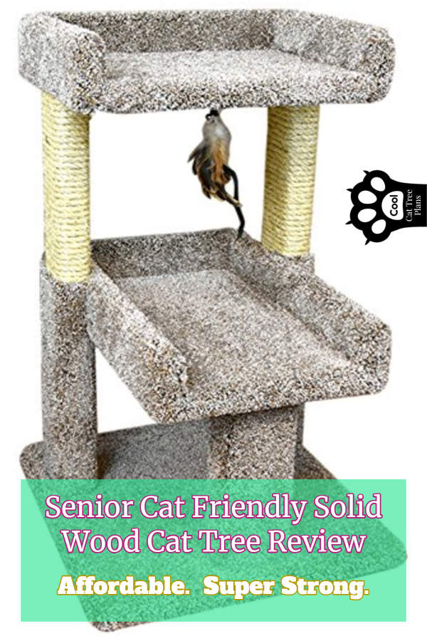 This senior cat friendly solid wood cat tree is affordable and very strong.