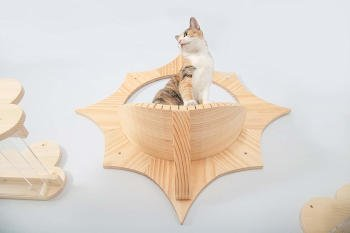 The cat shelf is made from solid wood to hold up to 33 pounds.  The shelf itself is a beautiful curved ledge for your cat to snuggle up on.