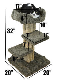 The specific dimensions for this tree themed solid wood cat tree.